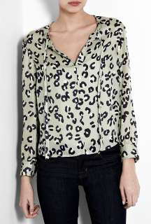 Leopard Print Silk Tie Neck Blouse by A.P.C.