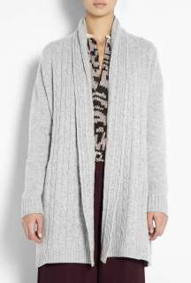 Madeleine Thompson  Grey Cable Knit Open Cardigan by Madeleine