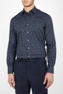 Paul Smith London  Navy Mini Floral Print Shirt by Paul Smith London