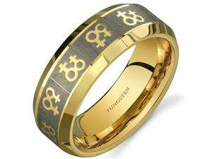 Gay Pride Double Venus Symbol 8 mm Comfort Fit Gold Tone