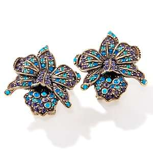 Heidi Daus Exotic Orchid Crystal Accented Button Earrings