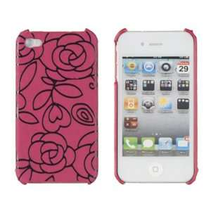 Pink Raised Flower Case for Apple iPhone 4, 4S (AT&T