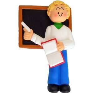 3016 Blonde Male Teacher Standing By Chalkboard Holding A