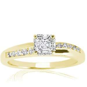 0.75 Ct Asscher Cut Diamond Engagement Ring Pave Setting