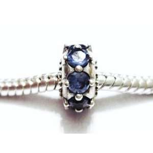 Authentic 925 sterling silver blue gemstones spacer charm fits pandora