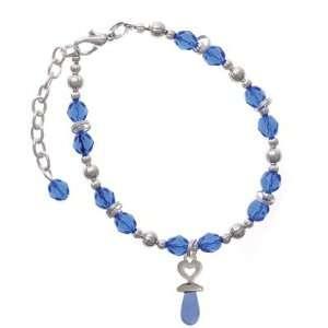 Blue Baby Pacifier Blue Czech Glass Beaded Charm Bracelet [Jewelry