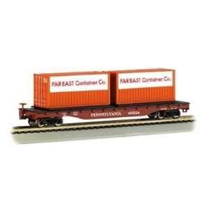 BACHMANN N TRAINS FLATCAR PENNSYLVANIA RAILROAD W/CONT LOAD Toys
