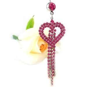 Fuchsia Rose Crystal Heart Belly Ring bp194