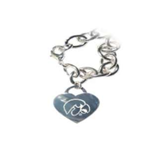 of Iowa Hawkeyes Tiffany Style Heart Tag Bracelet