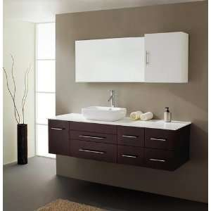 Virtu USA UM 3050 Justine 59 Inch Wall Mounted Single Sink Bathroom