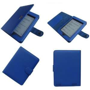 (Blue) Portfolio Leather Case Cover For  Kindle Touch