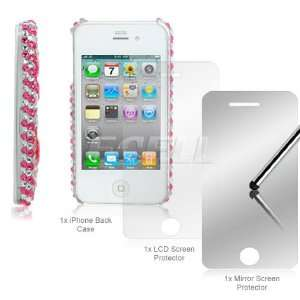 Ecell   PINK HEARTS BLING CASE + LCD PROTECTOR FOR iPHONE