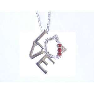 Kitty Love Charm Necklace with Red Bow Jewelry