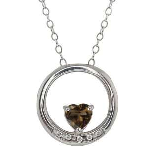 Shape Brown Smoky Quartz and Topaz Sterling Silver Pendant Jewelry