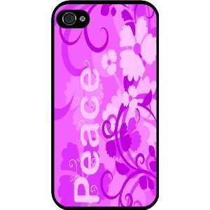 Pink Peace Design Rubber Black iphone Case (with bumper) Cover