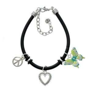 Lime Green & Blue Butterfly Black Peace Love Charm Bracelet [Jewelry
