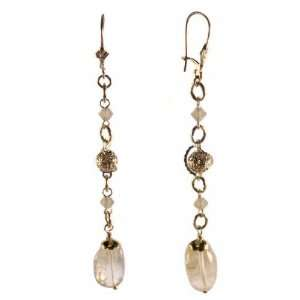 Citrine Extra Long Drop Earrings with SWAROVSKI ELEMENTS Crystal Gold
