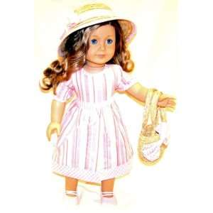 American Girl Doll Clothes Pink Striped Dress Toys