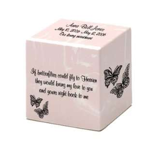 Infant Girl Pink Butterfly Small Cube Cremation Urn