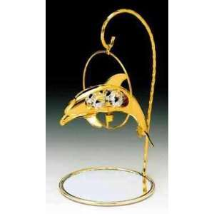 Dolphin 24k Gold Plated Crystal Ornament Mirror Stand