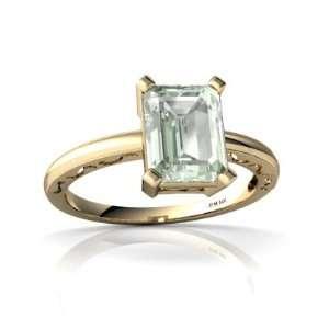 Yellow Gold Emerald cut Genuine Green Amethyst Milgrain Ring Size 4.5