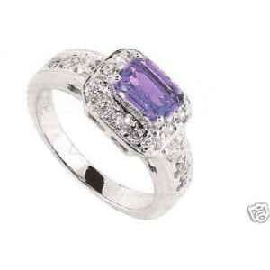 CTW AMETHYST & 12 CZS ON 18K WHITE GOLD PLATED RING