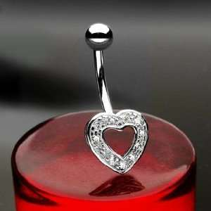 14K White Gold Heart Charm Belly Ring with Clear Round Cubic Zirconia