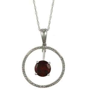 White Gold 2.13cttw Round Garnet and Diamond Circle Pendant Necklace