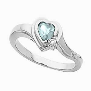 14K White Gold Heart Shaped Sky Blue Topaz and Diamond Ring Jewelry