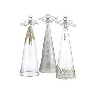 SET OF 3 LARGE GLASS ANGEL TABLE TOP FIGURINES 12