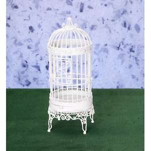 Dollhouse Miniature White Wire Birdcage