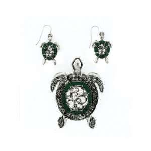 Fashion Jewelry ~ Green Turtle Pendant and Earrings Set