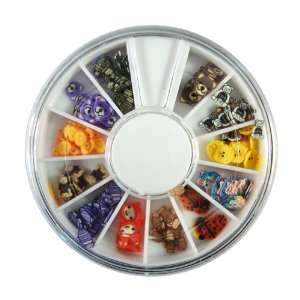 Face Designs Nail Art Polymer Decal Slices in Wheel   Ready to Use by