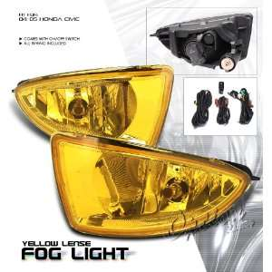 Civic Coupe & Sedan 04 05 Yellow Fog Light Kit JDM Style Automotive