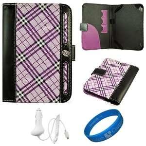 Purple Plaid Executive Leather Folio Case Cover for