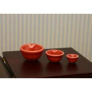 Set of Red Nesting Bowls in 112 Dollhouse Miniature Scale