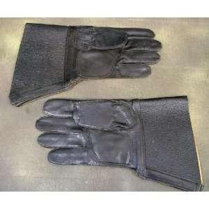 German WW2 Style Black Leather Gauntlets for Kradschutzen (Motorcycle