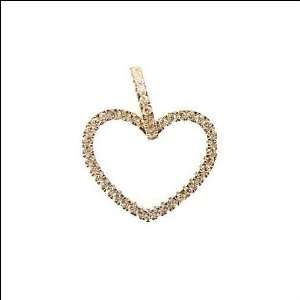 Gold, Open Heart Pendant Charm Lab Created Gems 19mm Wide Jewelry