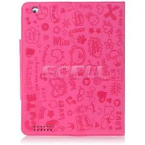 HOT PINK CUTE PRINT LEATHER CASE STAND FOR APPLE iPAD 2 Electronics