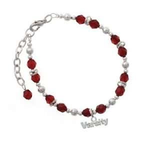 Varsity Maroon Czech Glass Beaded Charm Bracelet [Jewelry] Jewelry