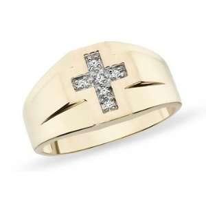 10K Yellow Gold Diamond Mens Cross Ring: Jewelry