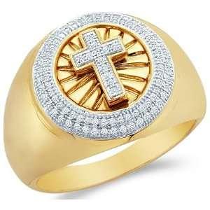 Gold Cross Fashion Micro Pave Set Round Cut Mens Diamond Wedding Ring