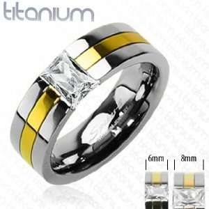 Solid Titanium with Gold Plated with CZ Stone Ring   Size9 Jewelry