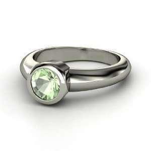 Spotlight Ring, Round Green Amethyst 14K White Gold Ring Jewelry