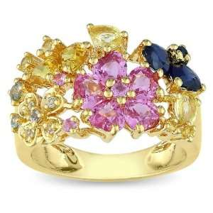 Pink Sapphire, Yellow Sapphire and Green Sapphire Flower Ring Jewelry