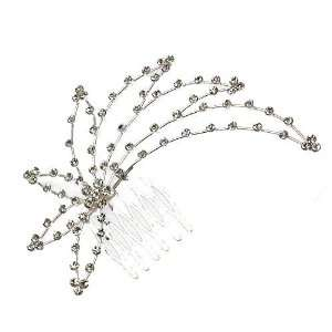 Weigela Silver Crystal Hair Comb Jewelry