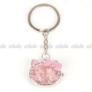 Hello Kitty Pocket Watch Keyring Keyfob Rose Office