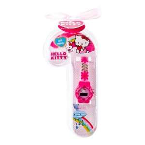 Hello Kitty LCD Watch   Candy Cane Package   Pink Flower