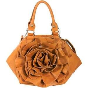 Designer inspired fashion bag rosette raised flower satchel   Camel
