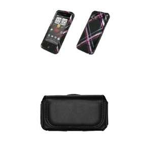 HTC Droid Incredible Premium Black with Pink Plaid Stripes Design Case